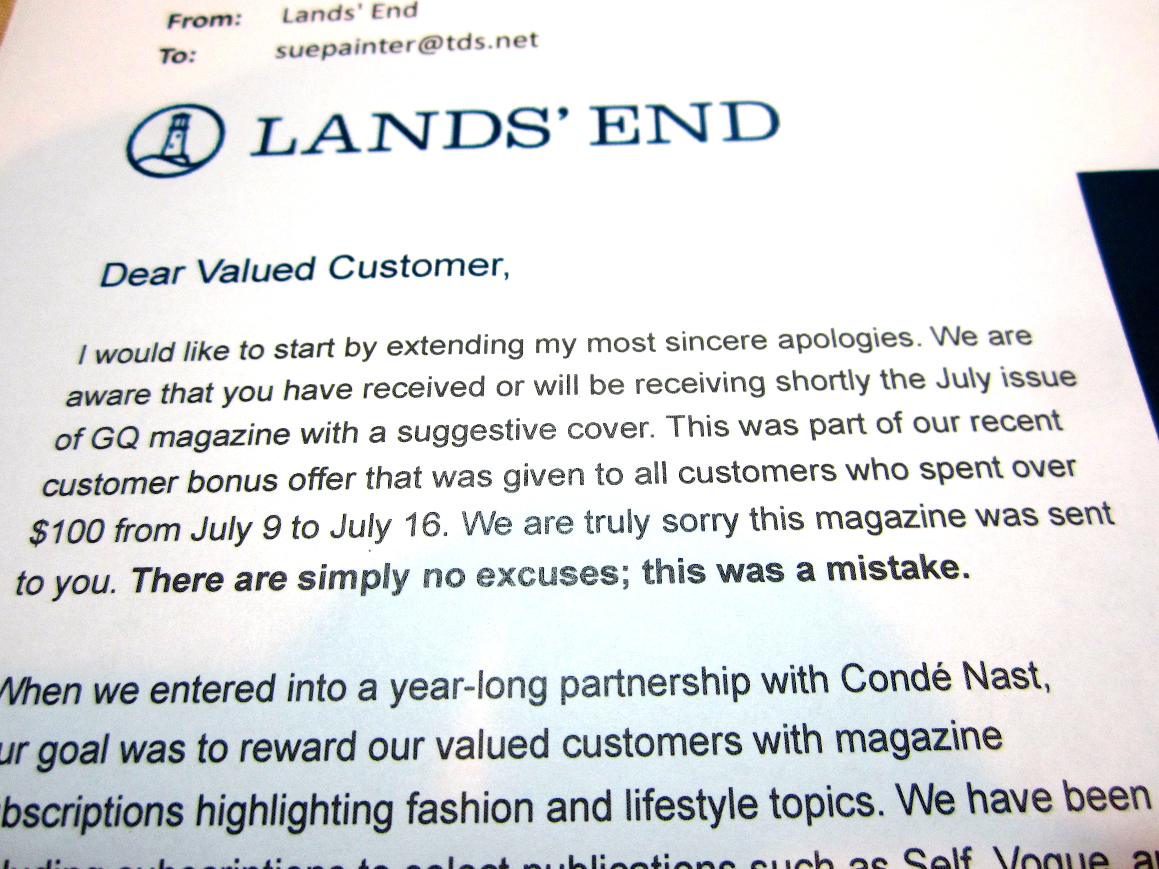 Instead Of Trying To Place The Blame Elsewhere (onto Conde Nast) The Pany Took The Blame Straight Up Andrmed Its Customers What It Was  Doing To Make